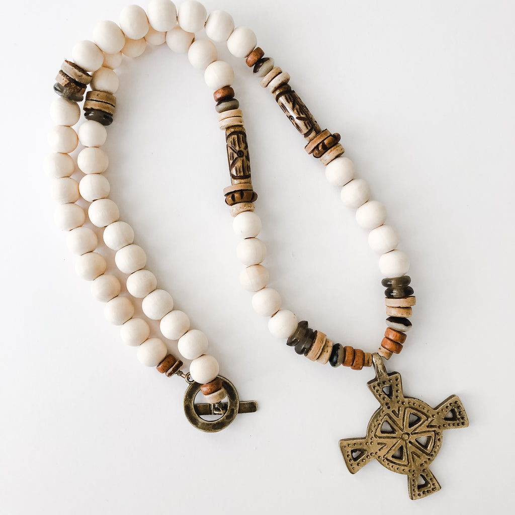 Neutral Beaded Brass Cross Pendant Necklace