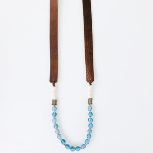 Allie Necklace in Cadet Blue | Leather Strap