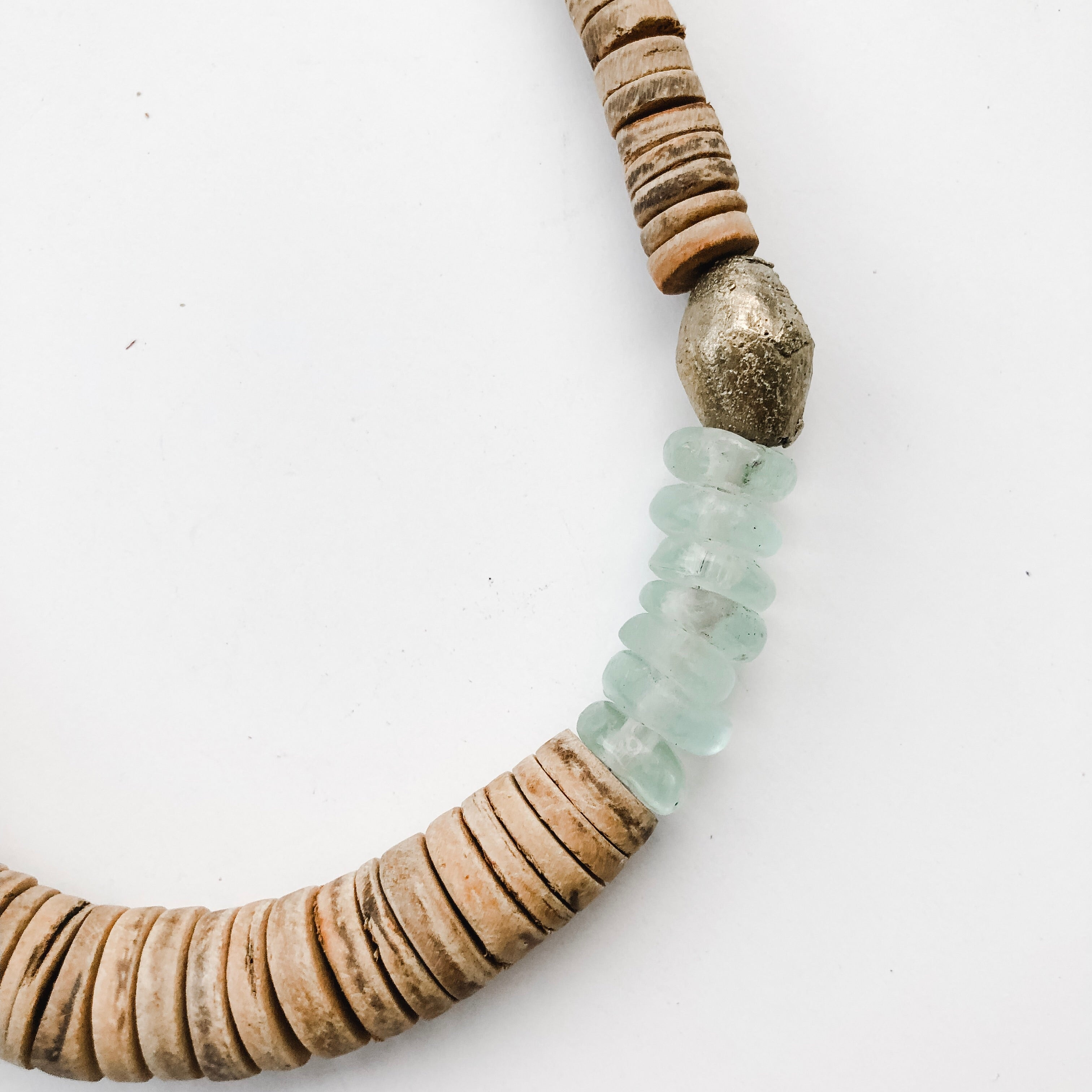 Simply Stated Coconut Necklace with Green Recycled Glass - A Fall Favorite