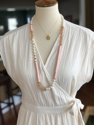 Finer Things Necklace - Pink | Brass | Pearls