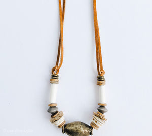 Traditional Clyda Necklace with Brass - Great Fall Layering Piece