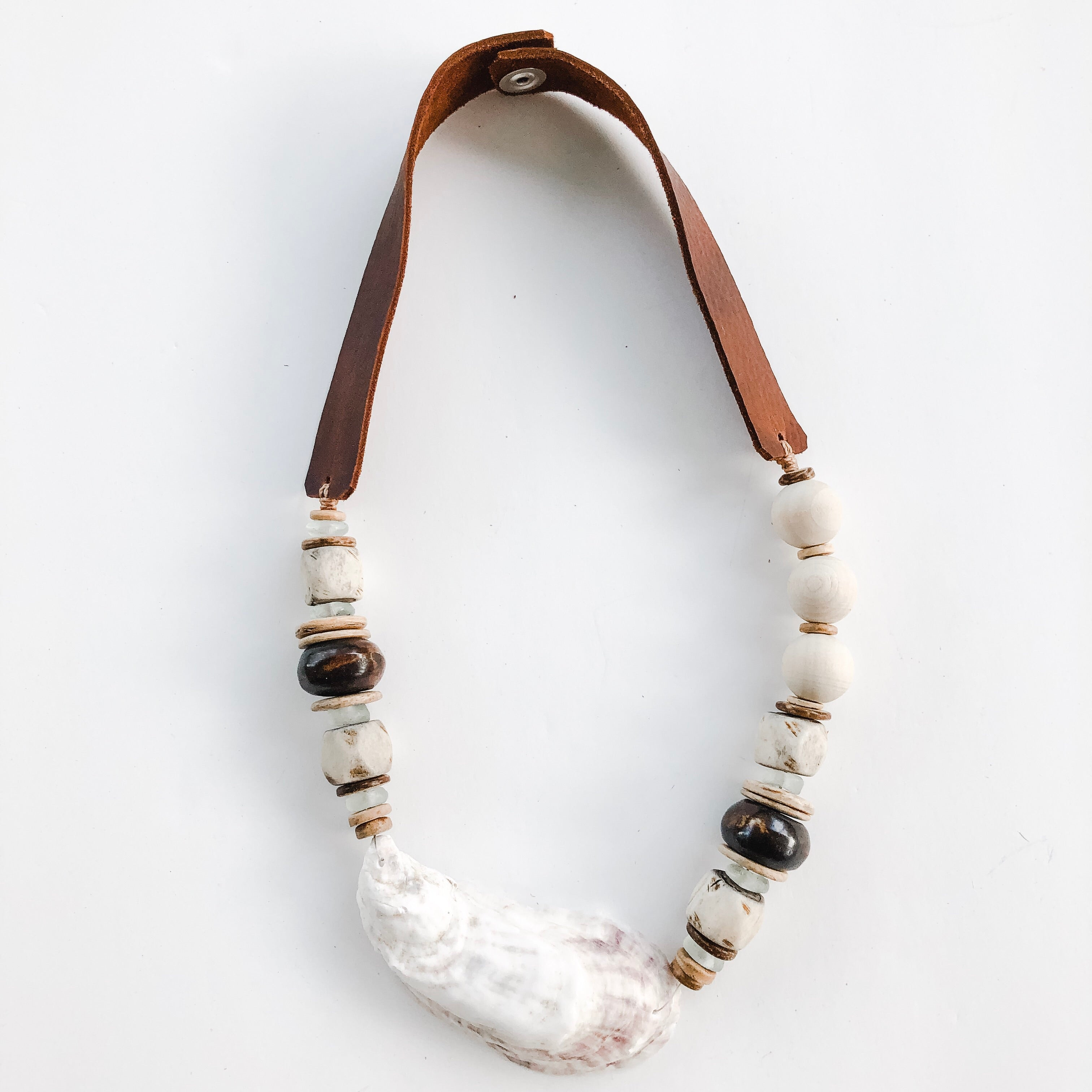 Sea to Sand Necklace - Oyster and Leather - A Fall Favorite