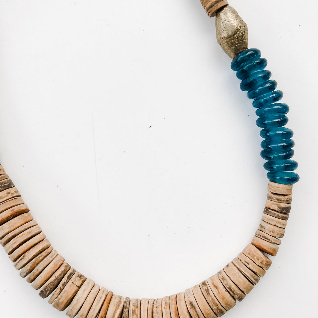 Simply Stated Coconut Necklace with Teal Recycled Glass - A Fall Favorite