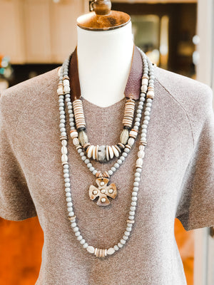Beaded Allie Necklace in Grey