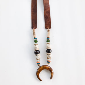 Beaded Horn Pendant Necklace