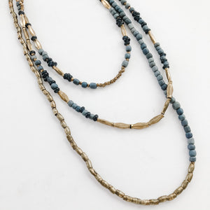 Finer Things Necklace - Triple Strand Grey | Black | Brass