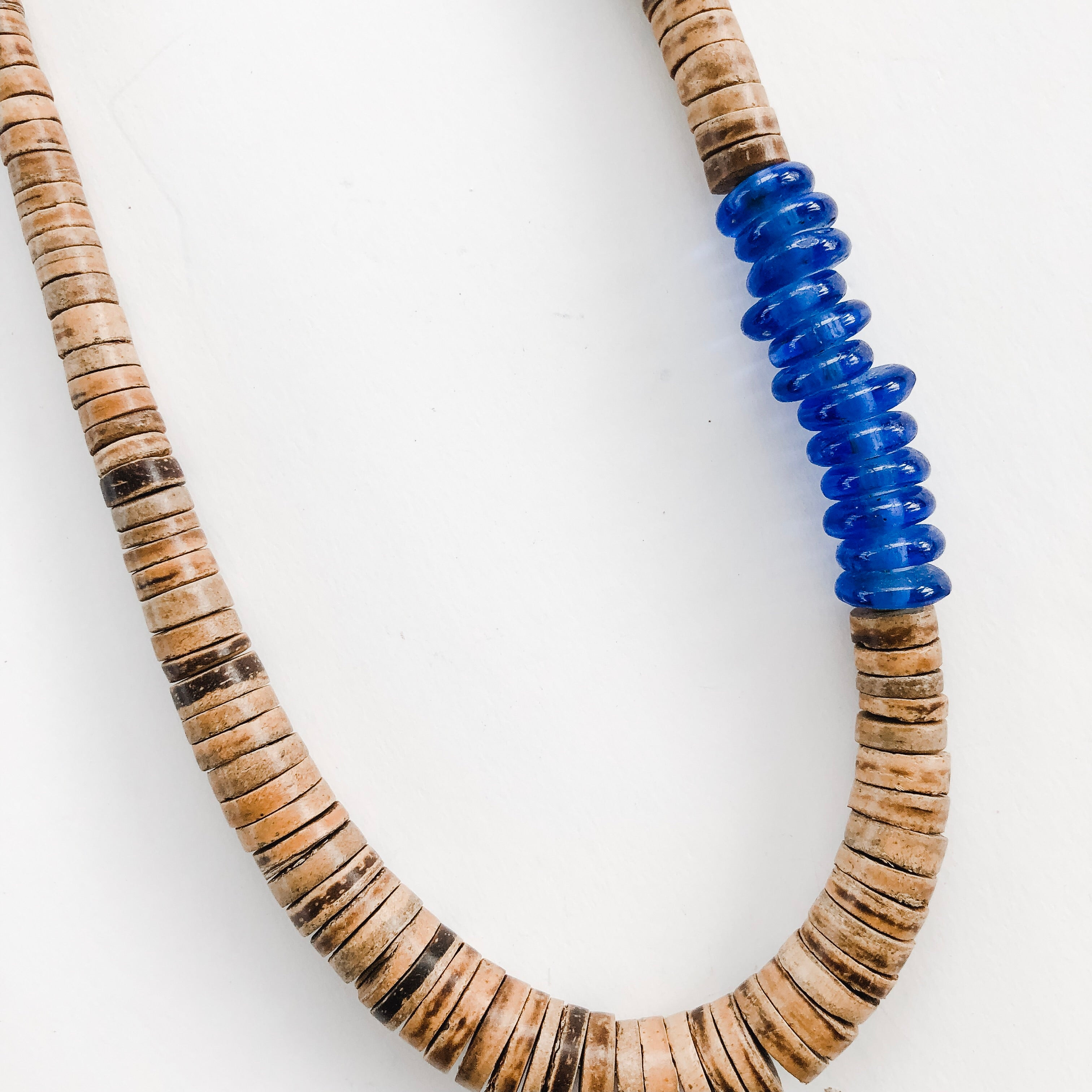 Simply Stated Coconut Necklace with Blue Recycled Glass