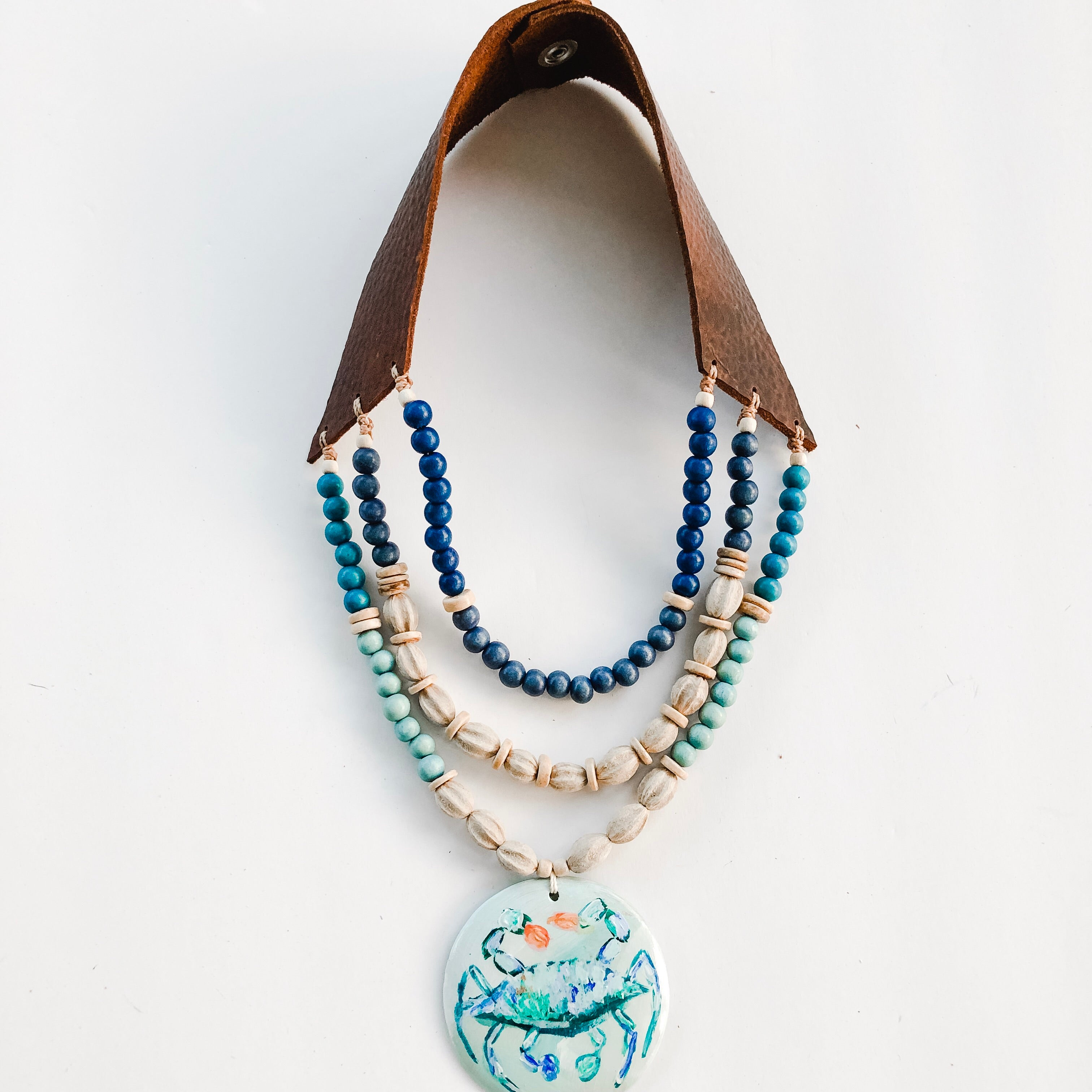 Triple Leather Bib Necklace - Azalea