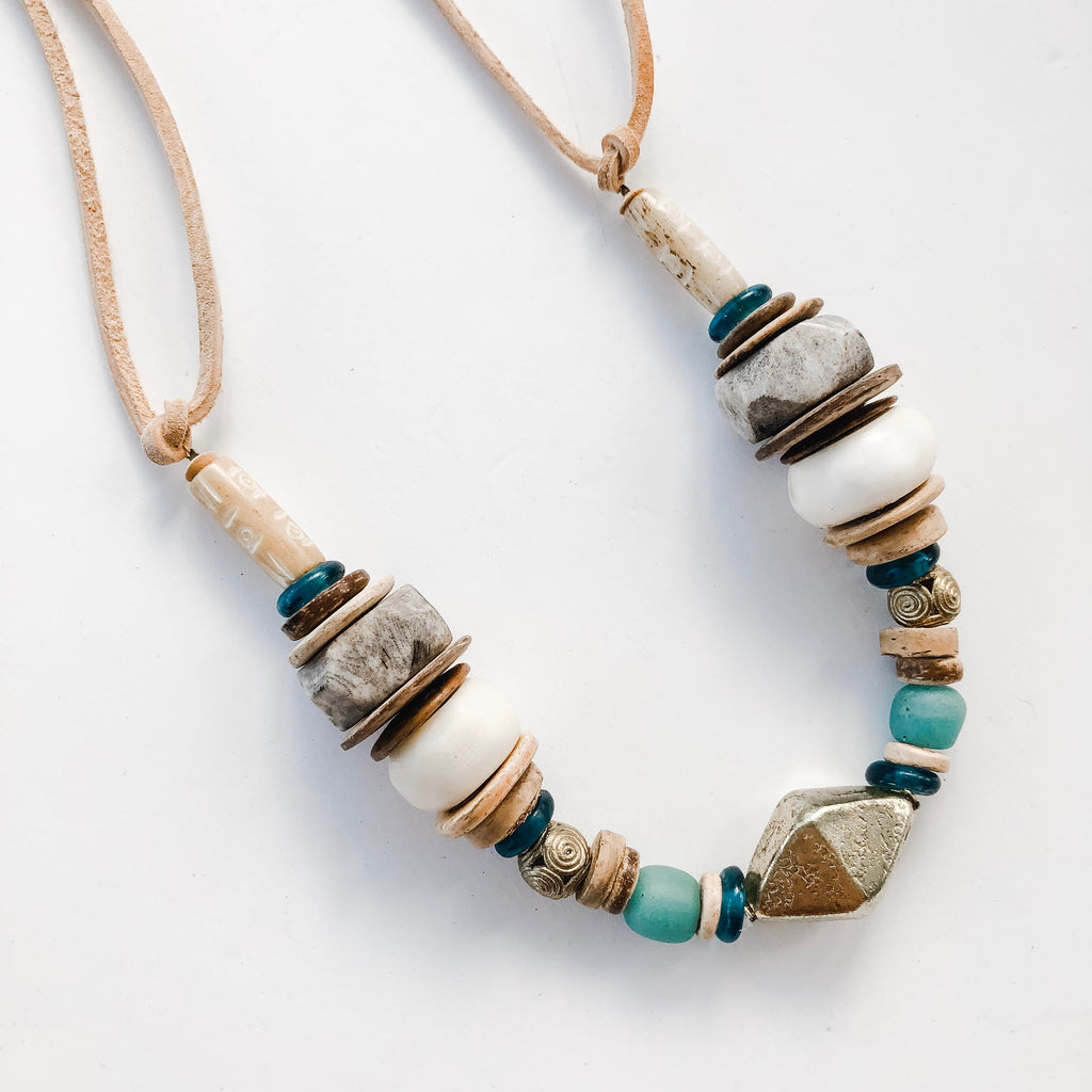 Clyda Necklace in Seafoam/Brass- Spring Layering Piece