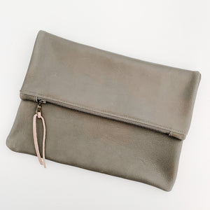 Grey Leather Foldover Clutch