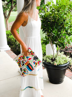 Summer of Color - Otomi Birds Clutch with Fringe