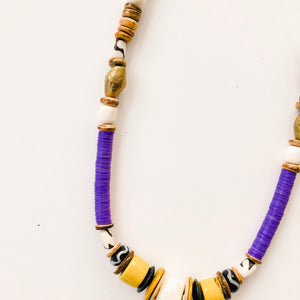 Game Day Tailgate Allie Necklace - PURPLE/YELLOW