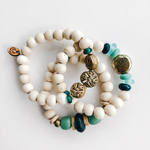 Triple Bracelet Stack in Brass + Seafoam