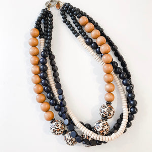 Multi Strand Necklace - Spring Cheetah | Tobacco | Black