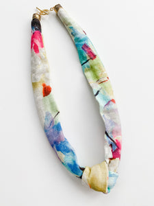 Summer Linen Scarf Knot Necklace
