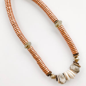 Sea to Sand | Bronze + Grey Statement Necklace