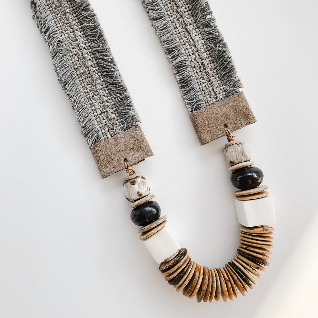 Lolita Necklace - Grey Fringe