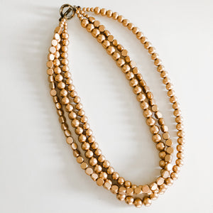 Multi Strand Necklace - Spring Gold Beads
