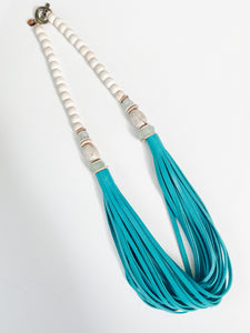 The Daly Necklace - Summer Teal Leather