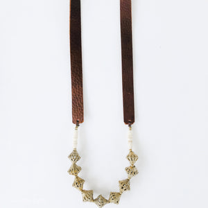 Allie Necklace in Brass | Leather Strap
