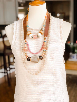 Clyda Necklace in Blush | Seafoam - Great Fall Layering Piece