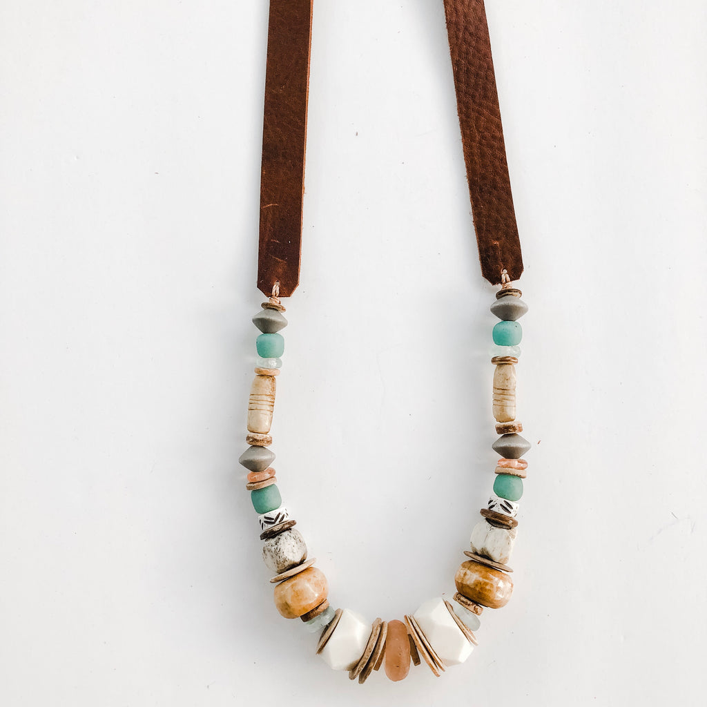 Allie Necklace on Leather Strap