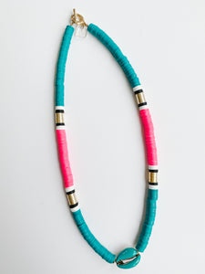 Summer Outer Banks Cowrie Necklace - Teal + Hot Pink
