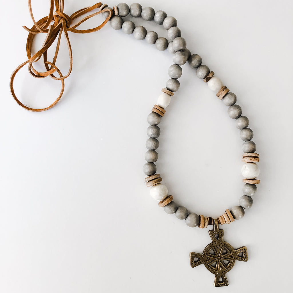 Grey Beaded Clyda Necklace | Brass Cross Pendant - Layer Option #1