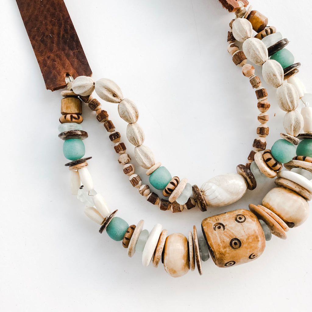 Sea to Sand Triple Necklace | Leather Strap | Midi Length