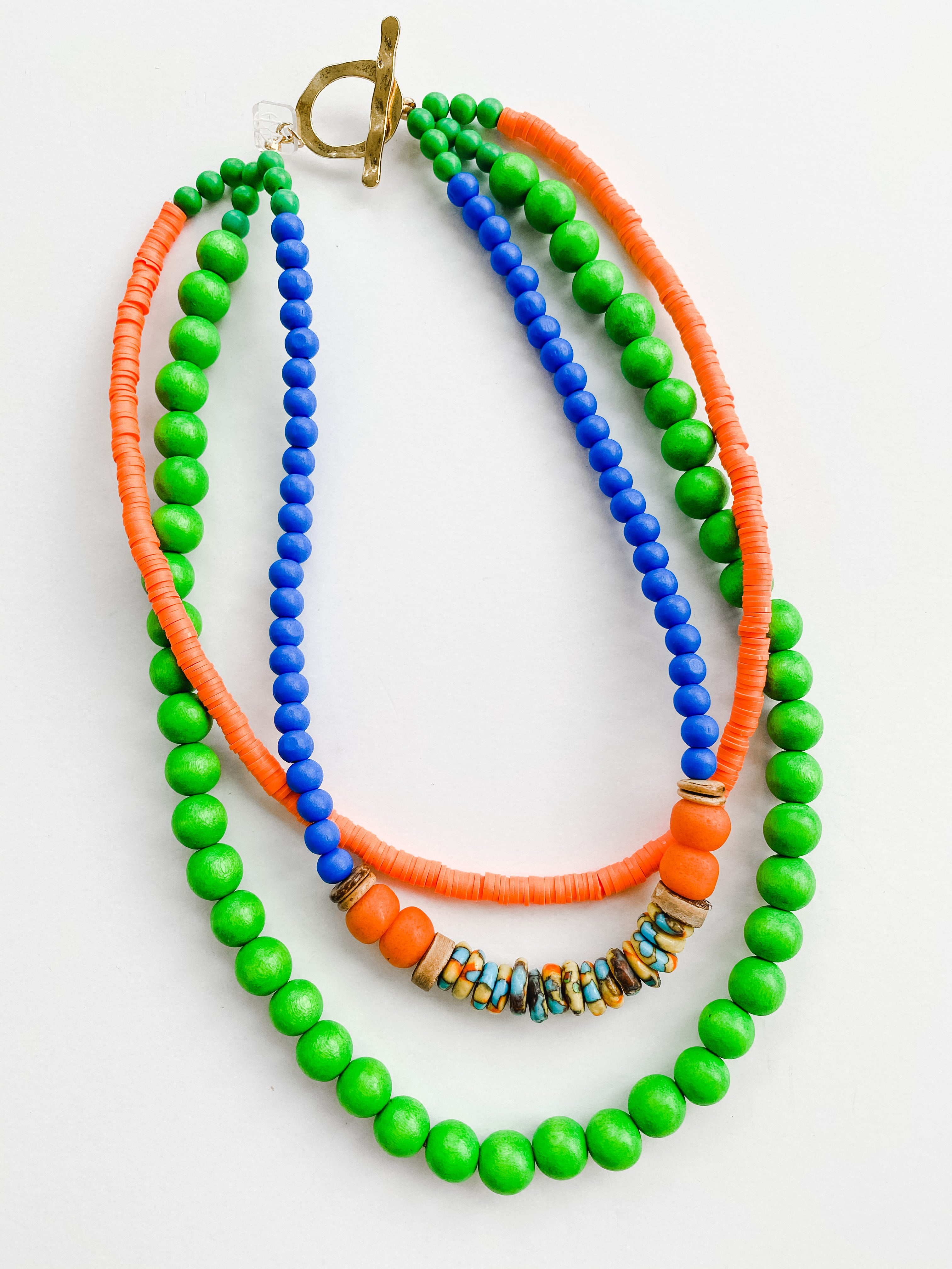 Summer Multi Strand Necklace - Green + Orange + African Beads