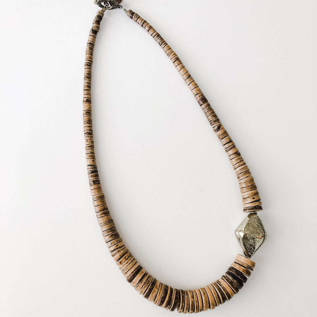 Simply Stated Coconut Necklace with Brass