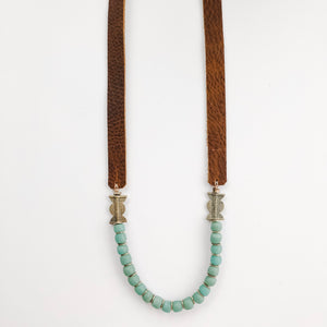 Allie Necklace in Recycled Glass | Leather Strap