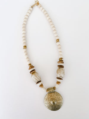 Sea to Sand Brass Pendant Necklace in Neutrals