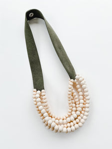 Sea to Sand - Multi Strand Bib Necklace - olive + natural