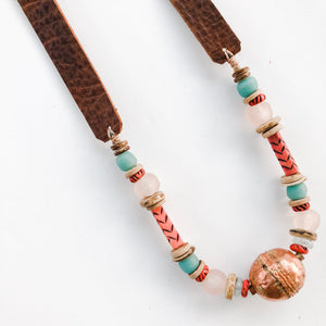 Fall 2019 Allie Necklace - Leather and Copper