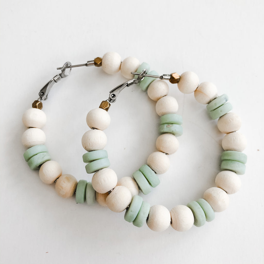 Sea to Sand - Spring Natural | Seafoam Beaded Earrings