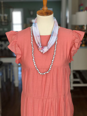 Sea to Sand Necklace - Light Grey Jacobs Tears Strand - Spring Layering