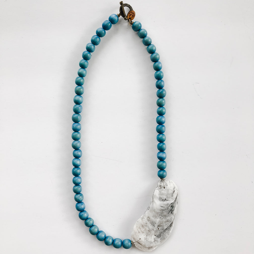 Sea to Sand Beaded Necklace - Natural Oyster