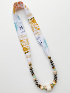 Summer Scarf Necklace - Grey + Yellow