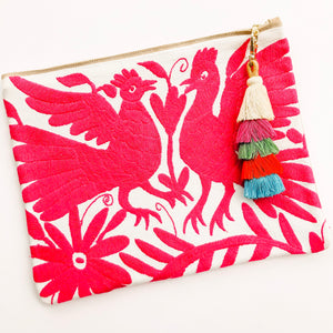 Summer of Color - Otomi Pink Birds Clutch