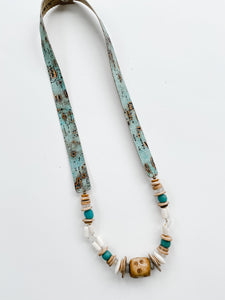 Simply Stated-  Fall Turquoise Leather Strap Necklace
