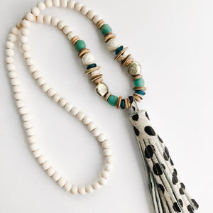 Sea to Sand Cheetah Tassel Necklace