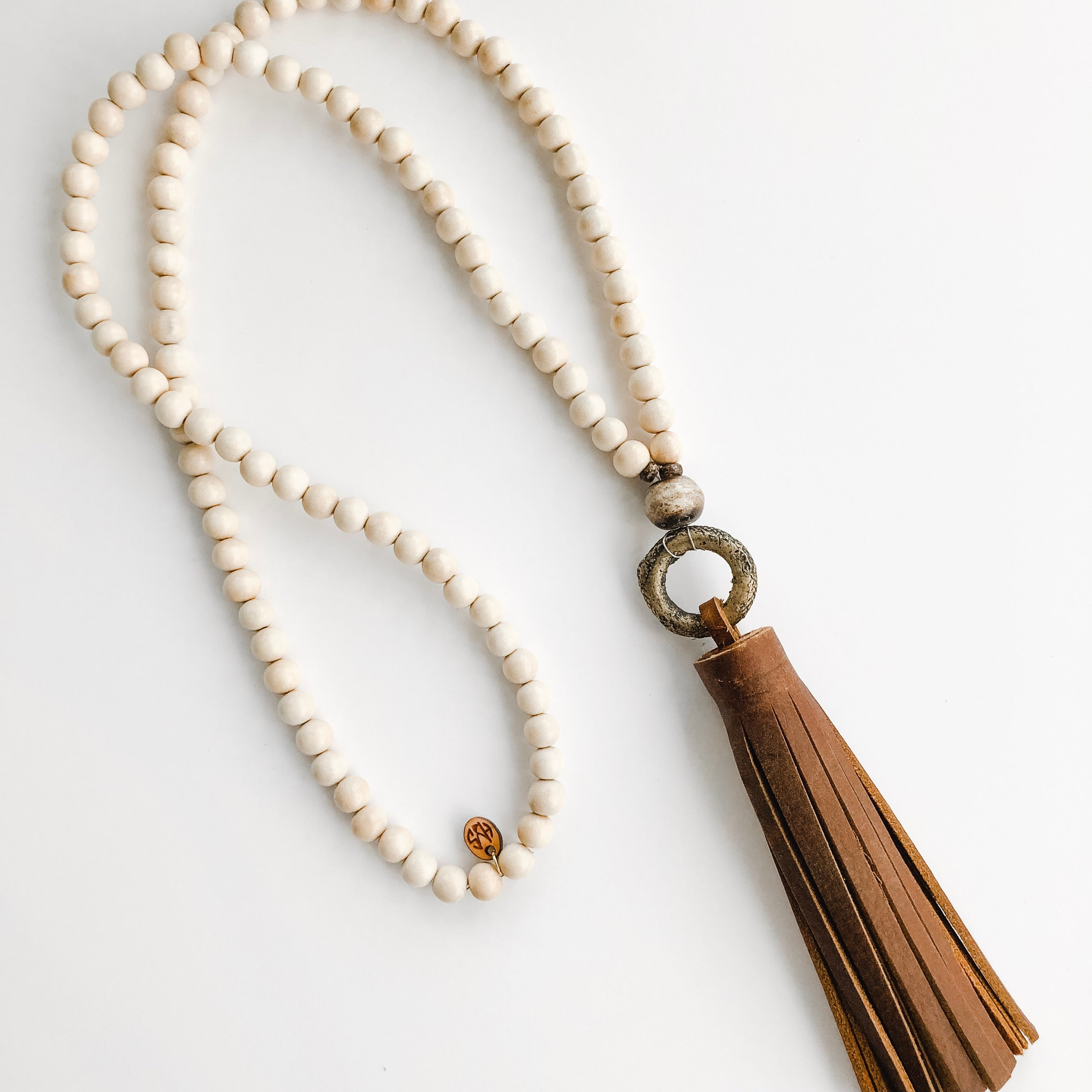 Tobacco Leather Tassel + Brass Ring Necklace