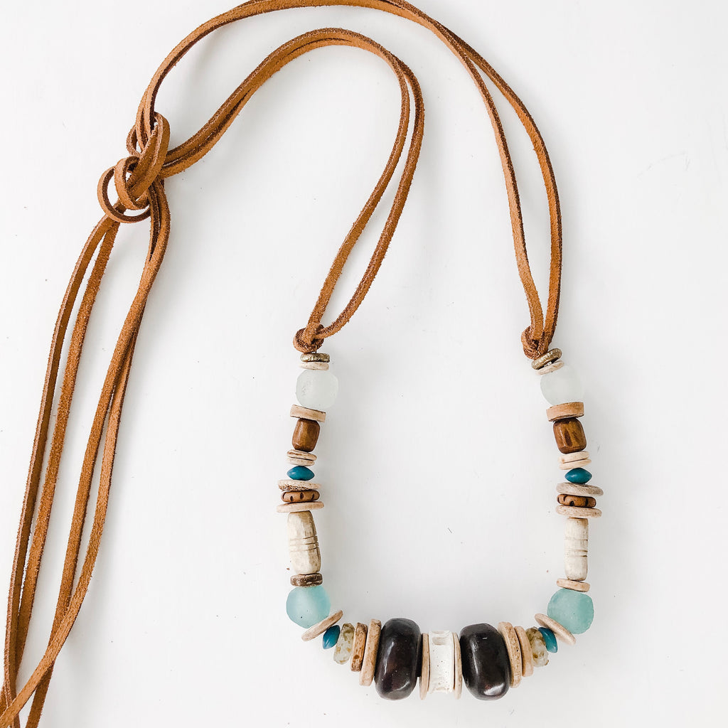 Clyda Necklace in beach tones - Great Layering Piece