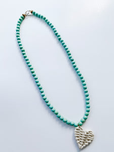 Lil' HighStrung Spring Heart Necklace - seafoam
