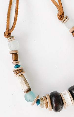 Clyda Necklace in beach tones - Great Fall Layering Piece
