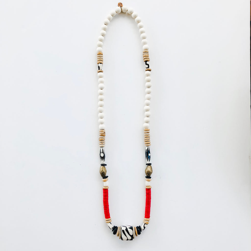 Game Day Tailgate Allie Necklace - RED/BLACK/WHITE
