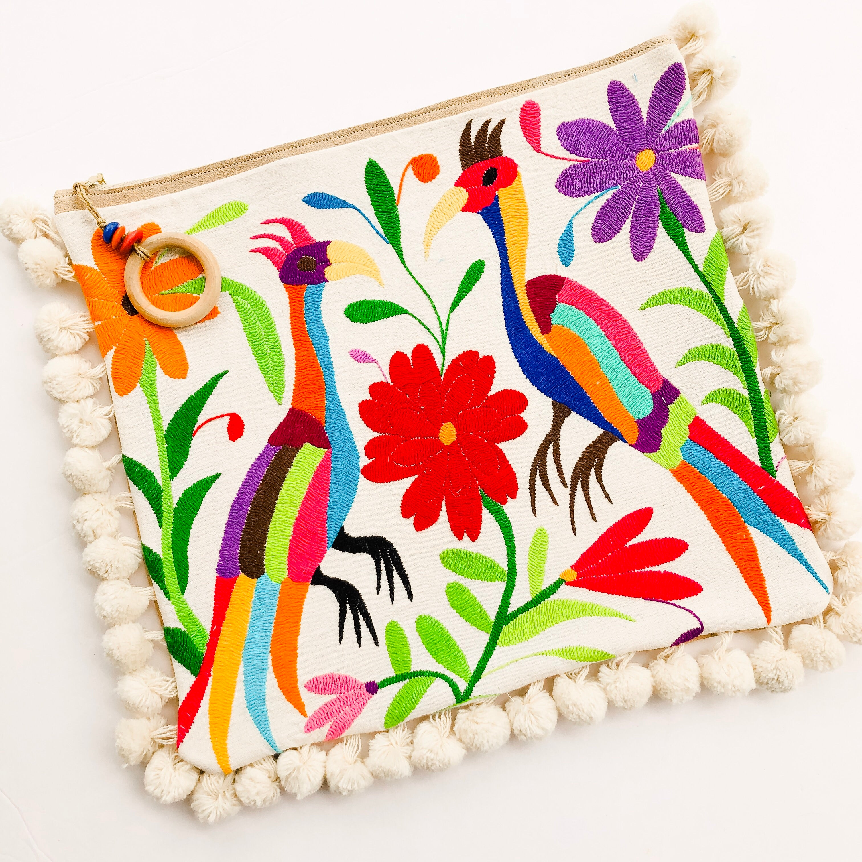 Summer of Color - Otomi Birds Clutch with Poms