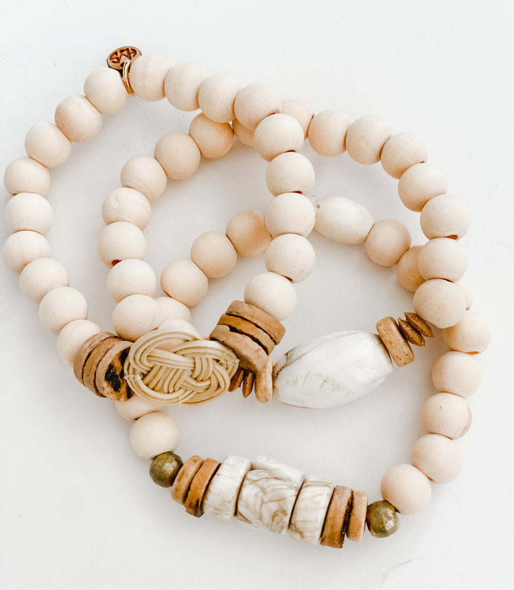 Sea to Sand - Summer Knot and Naga Shell Bracelet Stack