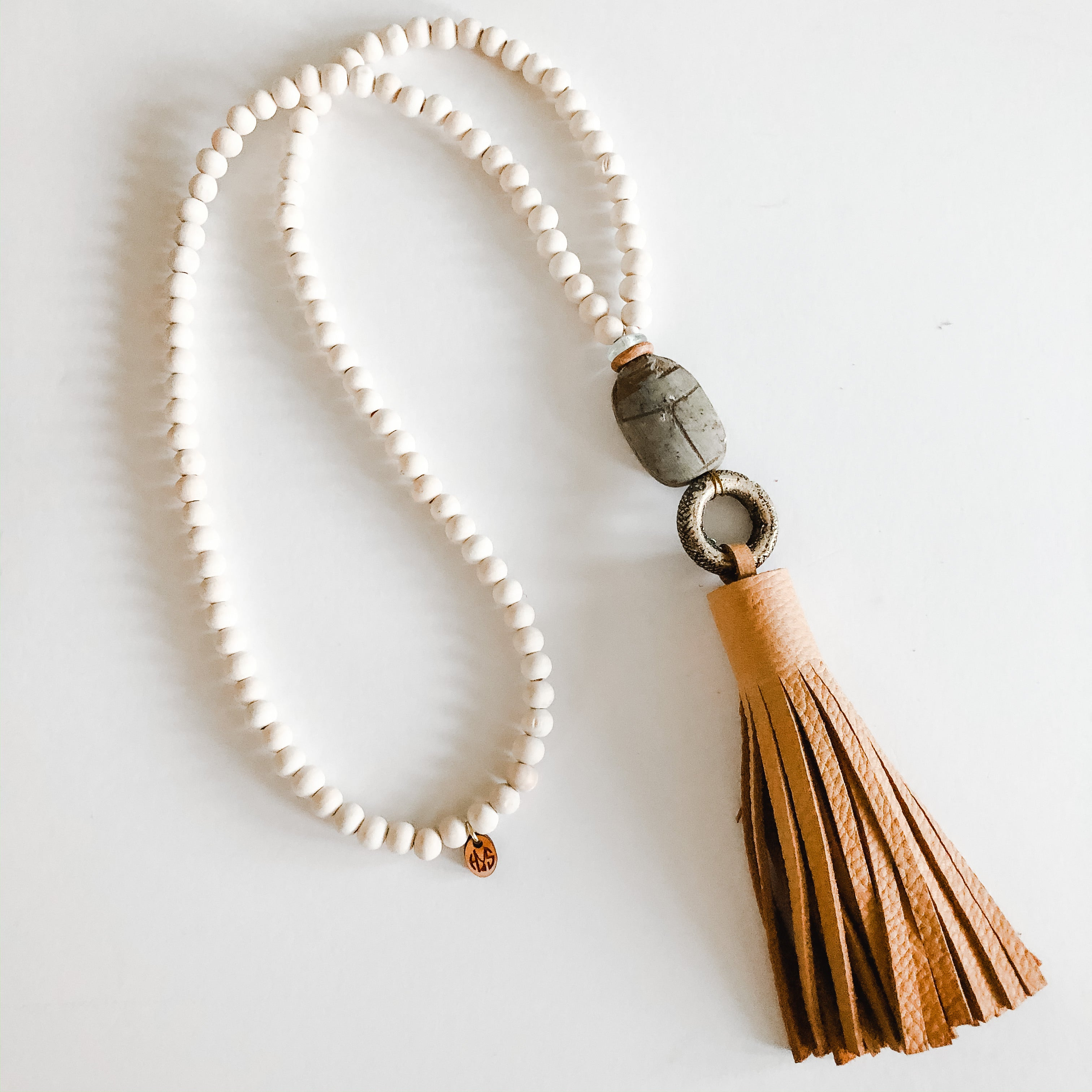 Spring Beige Leather Tassel + Scarab + Brass Ring Necklace